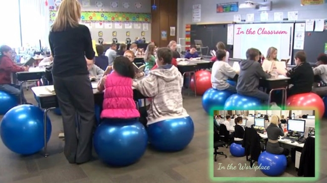 exercise ball for seating in classroom or workplace